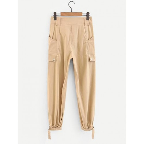 Pocket Front Pants - Khaki - Women's Leggings - pants180919801 N4oLHXs6