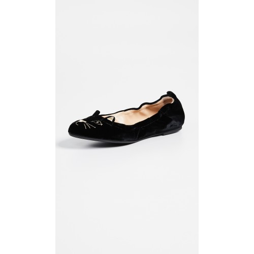 Charlotte Olympia Kitty Flats Black COLYM30328 - Women's Flats Shoes MZJSMZM