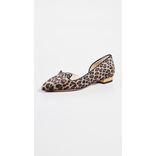 Charlotte Olympia Metallic Heel Flats Leopard/Black/Gold COLYM30324 - Women's Flats Shoes HEOAYLC