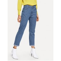 5 Pocket Pinstripe Jeans - Blue - Women's Jeans - pants180801408 P56xQ2Zy