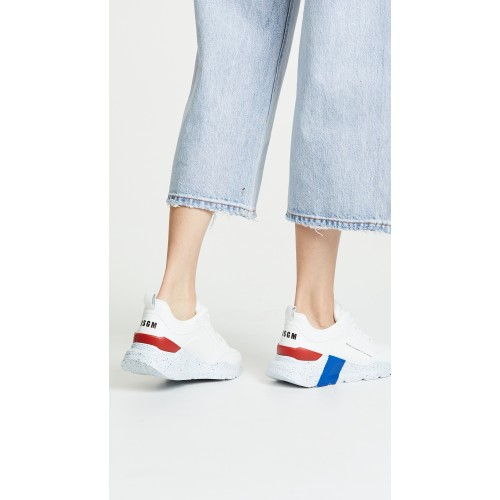 MSGM Hiking Trainer Sneakers Optical White/Red/Blue MSGMA31048 - Womens Sneakers NWADQQS